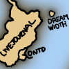 Hand-drawn XKCD map showing Dreamwidth as an island near the coast of LiveJournal